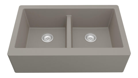 "Karran 34"" Quartz Farmhouse Sink, 50/50 Double Bowl, Concrete, QA-750-CN"