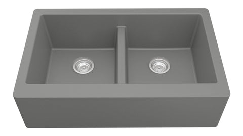 "Karran 34"" Quartz Farmhouse Sink, 50/50 Double Bowl, Grey, QA-750-GR"