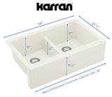"Karran 34"" Quartz Farmhouse Sink, 50/50 Double Bowl, White, QA-750-WH"