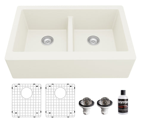 "Karran 34"" Quartz Composite Farmhouse Sink, 50/50 Double Bowl, White, QA-750-WH-PK1"