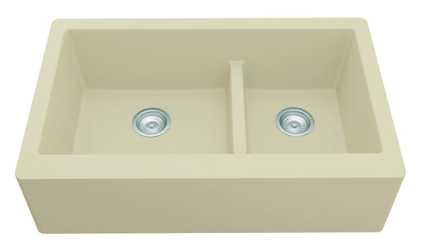 "Karran 34"" Quartz Farmhouse Sink, 60/40 Double Bowl, Bisque, QA-760-BI"