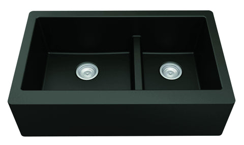 "Karran 34"" Quartz Farmhouse Sink, 60/40 Double Bowl, Black, QA-760-BL"
