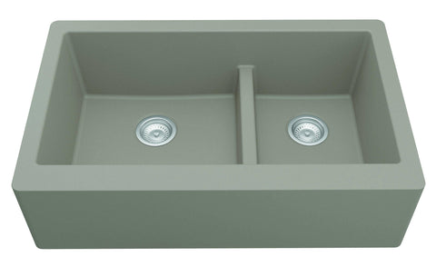 "Karran 34"" Quartz Farmhouse Sink, 60/40 Double Bowl, Concrete, QA-760-CN"