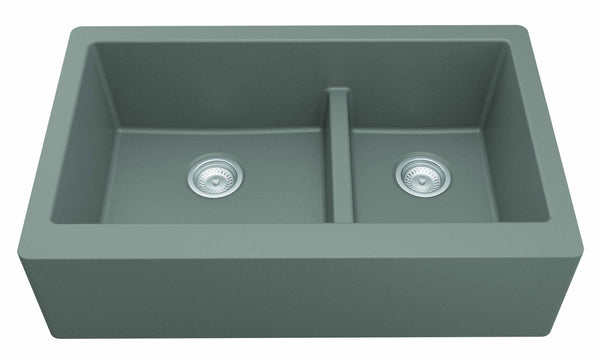 "Karran 34"" Quartz Farmhouse Sink, 60/40 Double Bowl, Grey, QA-760-GR"