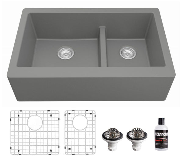 "Karran 34"" Quartz Composite Farmhouse Sink, 60/40 Double Bowl, Grey, QA-760-GR-PK1"