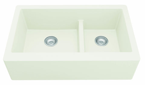 "Karran 34"" Quartz Farmhouse Sink, 60/40 Double Bowl, White, QA-760-WH"