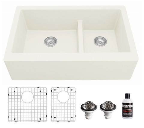 "Karran 34"" Quartz Composite Farmhouse Sink, 60/40 Double Bowl, White, QA-760-WH-PK1"