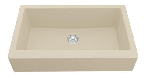 "Karran 34"" Quartz Retrofit Farmhouse Sink, Bisque, QAR-740-BI"