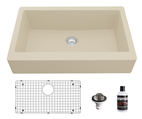 "Karran 34"" Quartz Composite Retrofit Farmhouse Sink, Bisque, QAR-740-BI-PK1"
