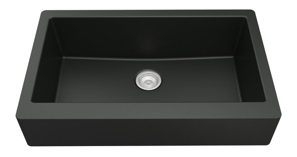 "Karran 34"" Quartz Farmhouse Sink, Black, QAR-740-BL"