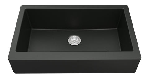 "Karran 34"" Quartz Retrofit Farmhouse Sink, Black, QAR-740-BL"