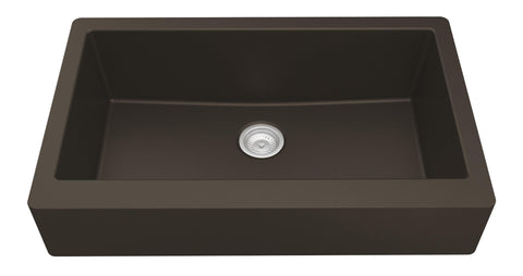 "Karran 34"" Quartz Retrofit Farmhouse Sink, Brown, QAR-740-BR"