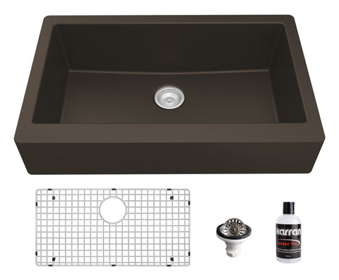 "Karran 34"" Quartz Composite Retrofit Farmhouse Sink, Brown, QAR-740-BR-PK1"