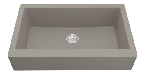 "Karran 34"" Quartz Retrofit Farmhouse Sink, Concrete, QAR-740-CN"