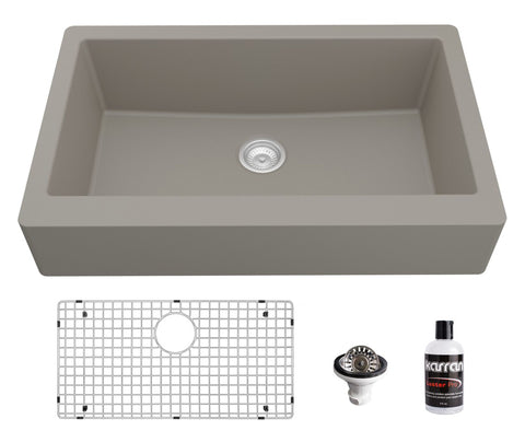 "Karran 34"" Quartz Composite Retrofit Farmhouse Sink, Concrete, QAR-740-CN-PK1"