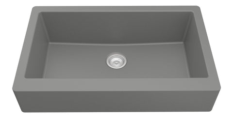 "Karran 34"" Quartz Retrofit Farmhouse Sink, Grey, QAR-740-GR"