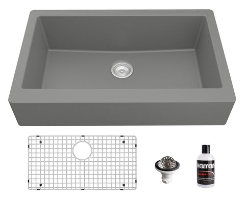 "Karran 34"" Quartz Composite Retrofit Farmhouse Sink, Grey, QAR-740-GR-PK1"