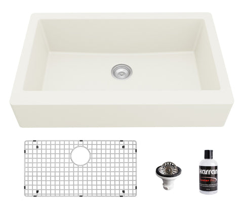 "Karran 34"" Quartz Composite Retrofit Farmhouse Sink, White, QAR-740-WH-PK1"