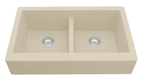 "Karran 34"" Quartz Retrofit Farmhouse Sink, 50/50 Double Bowl, Bisque, QAR-750-BI"