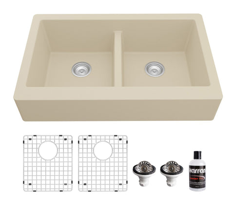 "Karran 34"" Quartz Composite Retrofit Farmhouse Sink, 50/50 Double Bowl, Bisque, QAR-750-BI-PK1"