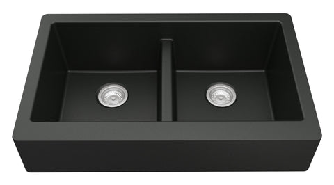 "Karran 34"" Quartz Farmhouse Sink, 50/50 Double Bowl, Black, QAR-750-BL"