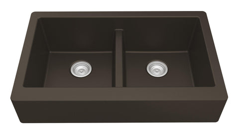 "Karran 34"" Quartz Retrofit Farmhouse Sink, 50/50 Double Bowl, Brown, QAR-750-BR"