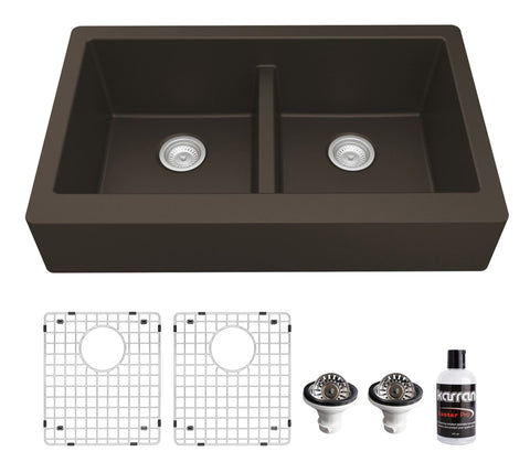 "Karran 34"" Quartz Composite Retrofit Farmhouse Sink, 50/50 Double Bowl, Brown, QAR-750-BR-PK1"