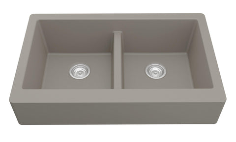 "Karran 34"" Quartz Retrofit Farmhouse Sink, 50/50 Double Bowl, Concrete, QAR-750-CN"