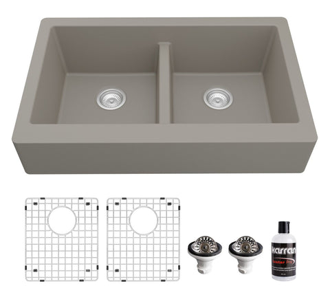 "Karran 34"" Quartz Composite Retrofit Farmhouse Sink, 50/50 Double Bowl, Concrete, QAR-750-CN-PK1"
