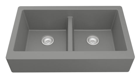 "Karran 34"" Quartz Farmhouse Sink, 50/50 Double Bowl, Grey, QAR-750-GR"