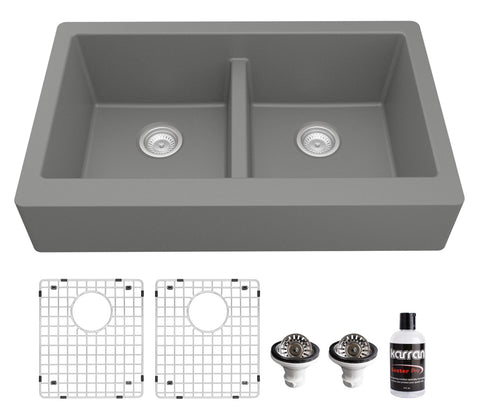 "Karran 34"" Quartz Composite Retrofit Farmhouse Sink, 50/50 Double Bowl, Grey, QAR-750-GR-PK1"