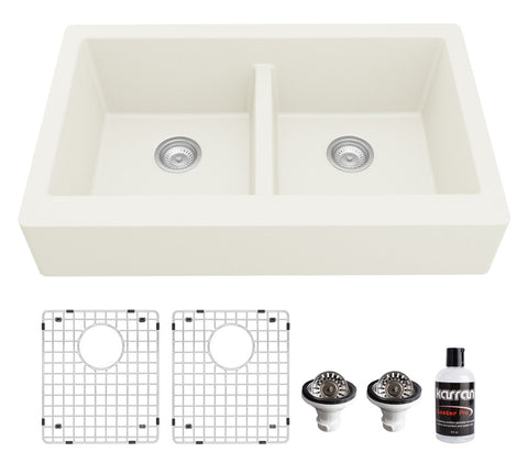 "Karran 34"" Quartz Composite Retrofit Farmhouse Sink, 50/50 Double Bowl, White, QAR-750-WH-PK1"
