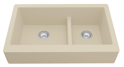 "Karran 34"" Quartz Retrofit Farmhouse Sink, 60/40 Double Bowl, Bisque, QAR-760-BI"