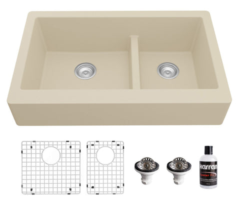 "Karran 34"" Quartz Composite Retrofit Farmhouse Sink, 60/40 Double Bowl, Bisque, QAR-760-BI-PK1"