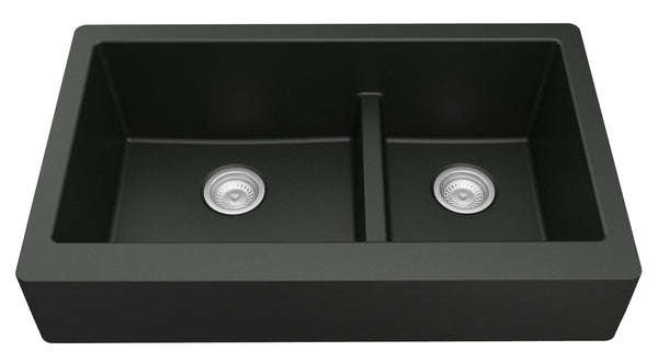 "Karran 34"" Quartz Retrofit Farmhouse Sink, 60/40 Double Bowl, Black, QAR-760-BL"