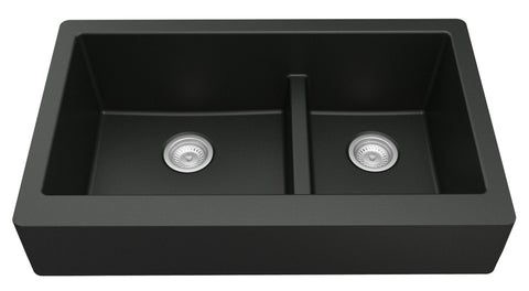 "Karran 34"" Quartz Farmhouse Sink, 60/40 Double Bowl, Black, QAR-760-BL"