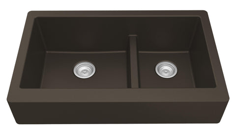 "Karran 34"" Quartz Farmhouse Sink, 60/40 Double Bowl, Brown, QAR-760-BR"