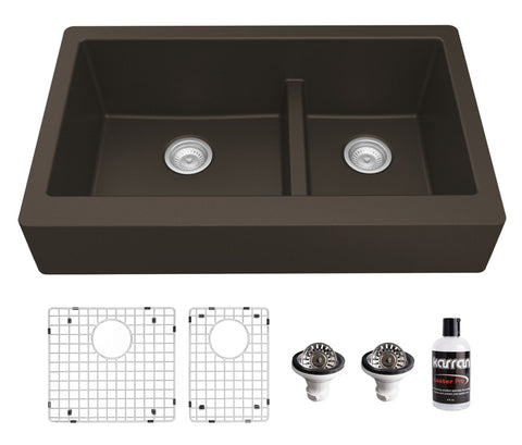 "Karran 34"" Quartz Composite Retrofit Farmhouse Sink, 60/40 Double Bowl, Brown, QAR-760-BR-PK1"