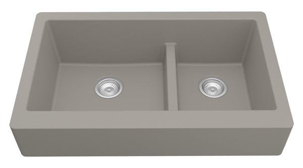 "Karran 34"" Quartz Retrofit Farmhouse Sink, 60/40 Double Bowl, Concrete, QAR-760-CN"