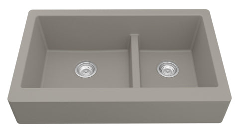 "Karran 34"" Quartz Farmhouse Sink, 60/40 Double Bowl, Concrete, QAR-760-CN"
