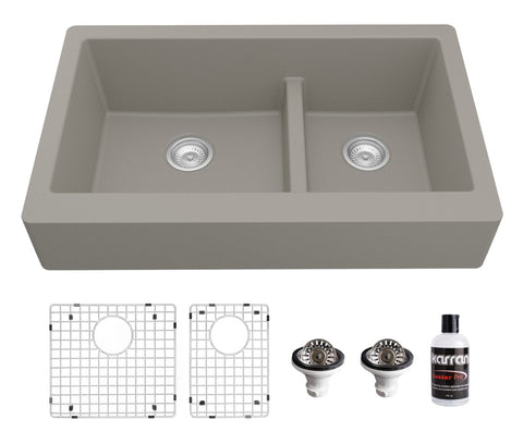 "Karran 34"" Quartz Composite Retrofit Farmhouse Sink, 60/40 Double Bowl, Concrete, QAR-760-CN-PK1"