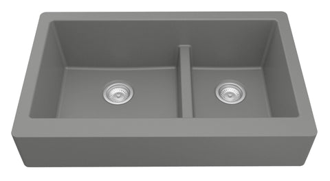 "Karran 34"" Quartz Retrofit Farmhouse Sink, 60/40 Double Bowl, Grey, QAR-760-GR"