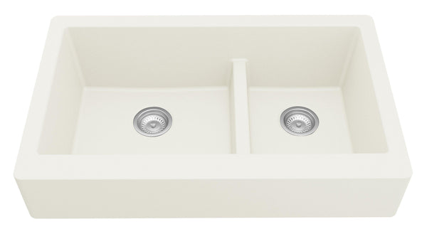 "Karran 34"" Quartz Farmhouse Sink, 60/40 Double Bowl, White, QAR-760-WH"
