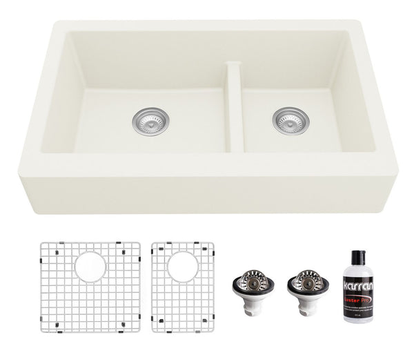 "Karran 34"" Quartz Composite Retrofit Farmhouse Sink, 60/40 Double Bowl, White, QAR-760-WH-PK1"