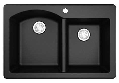 "Karran 33"" Quartz Kitchen Sink, 60/40 Double Bowl, Black, QT-610-BL"