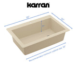"Karran 33"" Quartz Kitchen Sink, Bisque, QT-670-BI"
