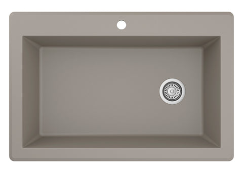 "Karran 33"" Quartz Kitchen Sink, Concrete, QT-670-CN"