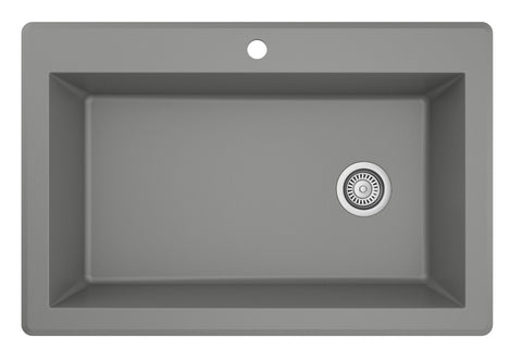 "Karran 33"" Quartz Kitchen Sink, Grey, QT-670-GR"