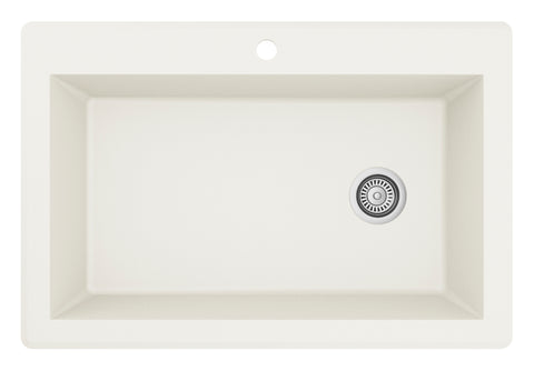"Karran 33"" Quartz Kitchen Sink, White, QT-670-WH"