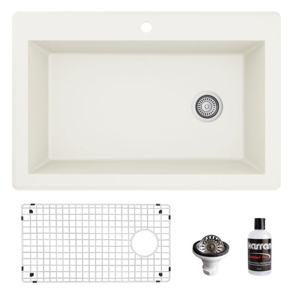 "Karran 33"" Drop In/Topmount Quartz Composite Kitchen Sink, White, QT-670-WH-PK1"